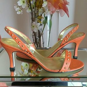 Sexy Orange with Gold Studs Dress Sandals